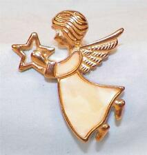 Vintage Angel with Star Pin Mother of Pearl Inlay Christmas Holiday Jewelry