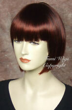 Pretty Bob Style Wig In Dark Copper Red / 100% Japanese Fibre Brilliant Quality