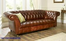 HANDMADE CHESTERFIELD SOFA COUCH CHAIR 3 SEAT VINTAGE ANTIQUE TAN LEATHER