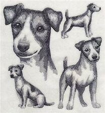 "9 x 12"" Embroidered Quilt Block - Pre Order - Jack Russell Terrier Sketch"