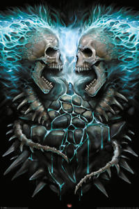 (094) SPIRAL FLAMING SPINE SKULLS GOTHIC MAXI WALL POSTER NEW WALL HANGING