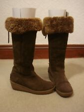 Ted Baker brown sheepskin suede knee high boots UK 3/36