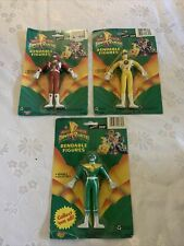 3 vintage Power Rangers Mighty Morphin Bendable Figures, Gordy toy