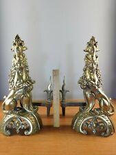 Antique  Brass Griffin Lion Fleur de Lis Coat Of Arms Shield Knight Andirons