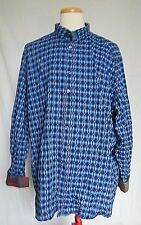 Au Noir Mens Button Shirt 3X Big Tall Blue Plaids & Checks Contrast Flip Cuffs