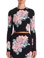 ELIZABETH and JAMES Polly Black Floral Print Ponte Knit Long Sleeve Crop Top M