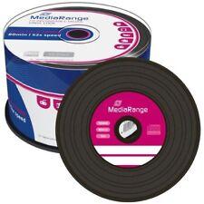 50 MEDIARANGE CD -R BLACK DYE 52x VINYL cdr cd r ck 50 mr225 vinile