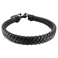 Mens Womens Leather Bracelet Bangle Cuff Rope Black Surfer Wrap Adjustable