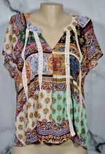 LIVING DOLL Sheer Multicolor Multiprint Tunic Top XL Unlined Short Sleeves