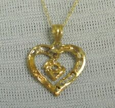 NEW 10K Yellow & White Gold Diamond Cut Mother Child Heart Pendant/Necklace 18""