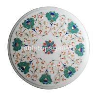 """12"""" Round White Marble Side Coffee Table Top Malachite Floral Inlay Decors W264"""