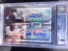 Gerrit Cole Jackie Bradley Jr 2010 Bowman Sterling Ref BGS 9/10 AUTO RC #/99 USA