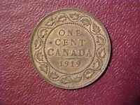1919 CANADA LARGE CENT - VERY NICE CHOICE AU/UNC COLLECTOR COIN! -d652dcx