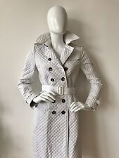 100% Authentic Burberry Prorsum White Classic Trench Quilted Coat Mac Size 8