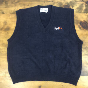Vintage Fedex Stan Herman Pullover Fuzzy Vest 90s Workwear Embroidered Size M/L