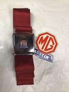 Austin Healey 3000 MGB Sprite IV Midget MK III Morris Mini NOS BMC Red seatbelt