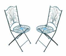 Metall Klappstuhl Vintage grau - 2er Set - Garten Stuhl Bistrostuhl Balkonstuhl