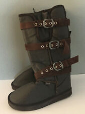 BNWT Ladies Sz 5 36 Rivers Doghouse Long Choc Brown Buckle Detail Slipper Boots