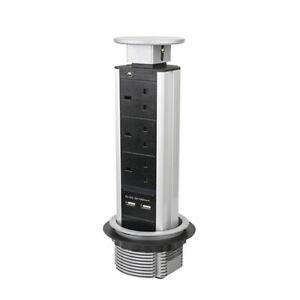 Pull Pop Up Socket Power Strip Tower UK Plug 2 USB Kitchen Office Desk Extension