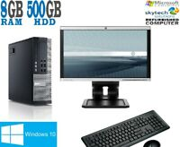 "FAST DELL PC FULL BUNDLE INTEL i5 QUAD CORE 22"" Wide 8GB 500GB WiFi Windows 10"