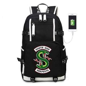 Riverdale Serpents USB Backpack Leisure Daily Travel Bags Student School Bag