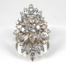 Long Marquise Diamond Cluster Ring 18k White Gold 5.00Ct