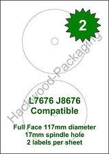 2 CD  / DVD Labels per Sheet x 10 Sheets L7676 / J8676 White Matt Labels
