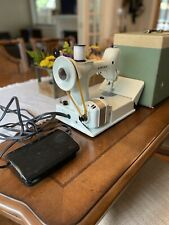 Vintage 1960s Singer 221 White Featherweight Portable Sewing Machine Mint Case
