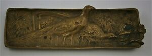 Cast Bronze/Brass Desk Pen Tray Depicting Pheasants & Chicks from early 1900s