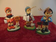 Vintage Hummel Like Plastic Christmas Ornament~3 Pieces