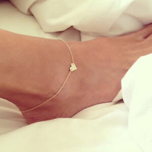 Yellow Gold Filled Heart Ankle Bracelet charms Leg Chain Foot Jewelry Anklets