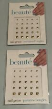 (2) New Beaute GiftCraft Nail Stone Gold Square Sticker Nail Art Gems 25 pcs.