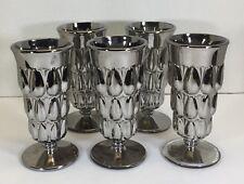 RARE SILVER ANTIQUE DALZELL, GILMORE & LEIGHTON GLASS SET OF 5 TEARDROP GLASSES
