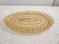 Vtg Jeannette Depression Glass Holiday Buttons & Bows Platter Amber Iridescent