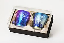 Pair of Japanese Pure Titanium Double Wall Short Tumblers (Snowflake Pattern)