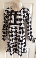 PINK BOUTIQUE Ladies Black White Mono Print Dress Size 10