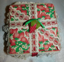 Strawberry Print Padded Sewing Trinket Jewelry Box 6x6 Lace Polka Dot Lining