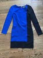 Trina Turk Womens Back Zip Boat Neck Color Block Sheath Dress Blue Black Size 8