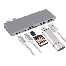 Multi Port 6-in-1 Hub Type-C Adapter Thunderbolt Gray USB 3.0 For MacBook Pro