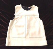 MSGM White Sleeveless A-line Pocket Top, Size 40, US 4