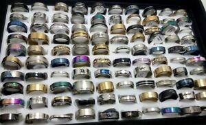 NEW 30pcs MIX LOT Stainless Steel rings Wholesale Men Women Fashion Jewelry lot