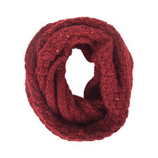 Knitted Solid Color Thick Winter Infinity Scarf Circle Loop Sequins Warm Light