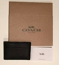 77eb6ed4a1cb NEW Coach Men s Money Clip Card Holder Case Wallet Leather Black F75459 +  BOX