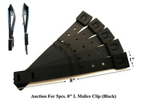 """5 x Tactical Tailor - Short 8"""" Black MALICE Clips For GERBER, BUCK Knife Pouch!"""
