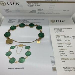 Antique Chinese 18k yellow gold natural A jadeite jade carved bracelet GIA flora