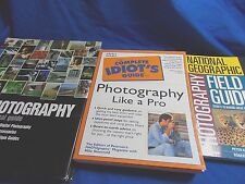 LOT OF 3 PHOTOGRAPHY BOOKS, NAT GEOGRAPHIC, IDIOT's guide, Practical guide