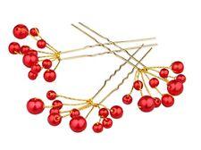 Lot de 3 épingles à chignons perles rouges , bijou de cheveux mariage