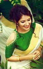 Indian Bollywood Ethnic Designer Bhagalpuri White Green Saree Party Wear Sari