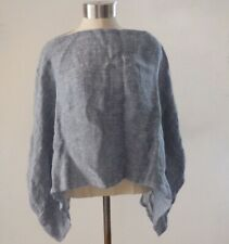 Kim Bernardin Paris Blue Linen Lagenlook Poncho AWESOME EUC