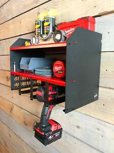 Milwaukee Red Shelf Cordless Percussion Drill Impact Driver Tool  Box Storage